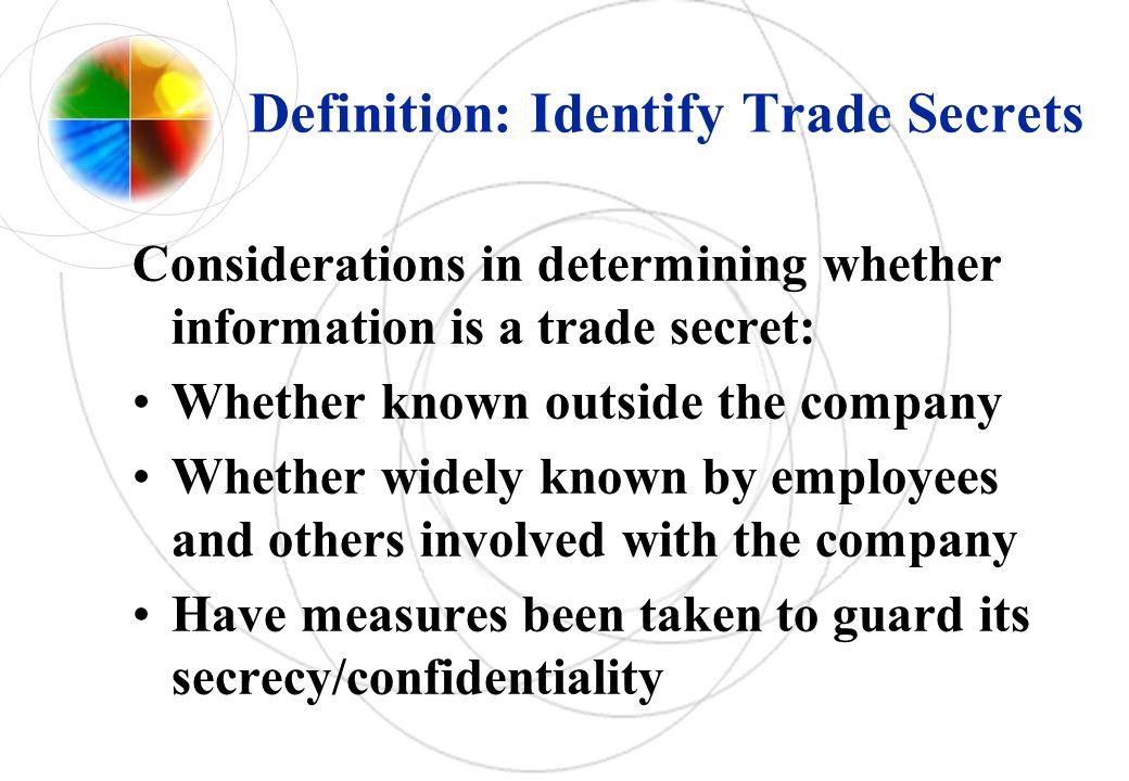 Definition: Identify Trade Secrets