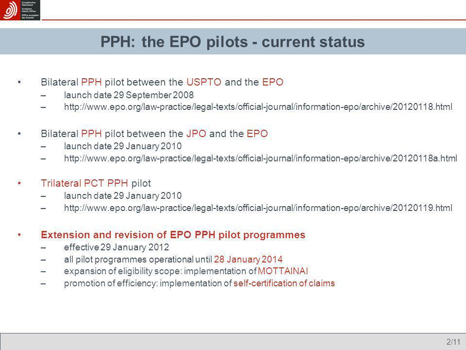PPH: the EPO pilots - current status