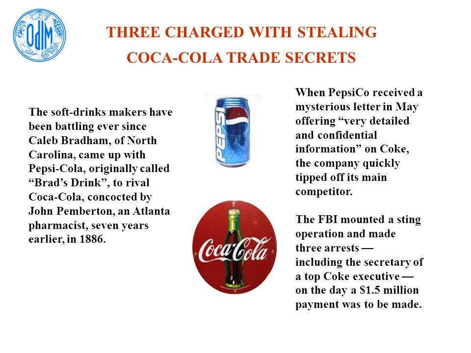 THREE CHARGED WITH STEALING COCA-COLA TRADE SECRETS