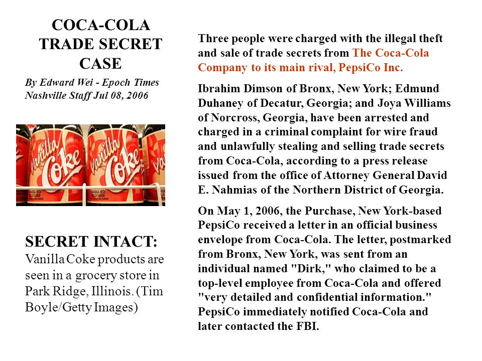 COCA-COLA TRADE SECRET CASE