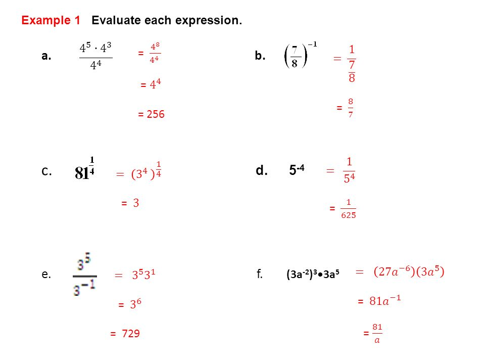 c. a. b. d. 5-4 e. f. Example 1 Evaluate each expression.