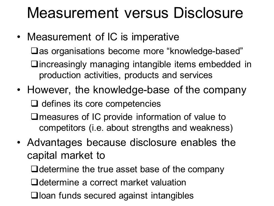 Measurement versus Disclosure
