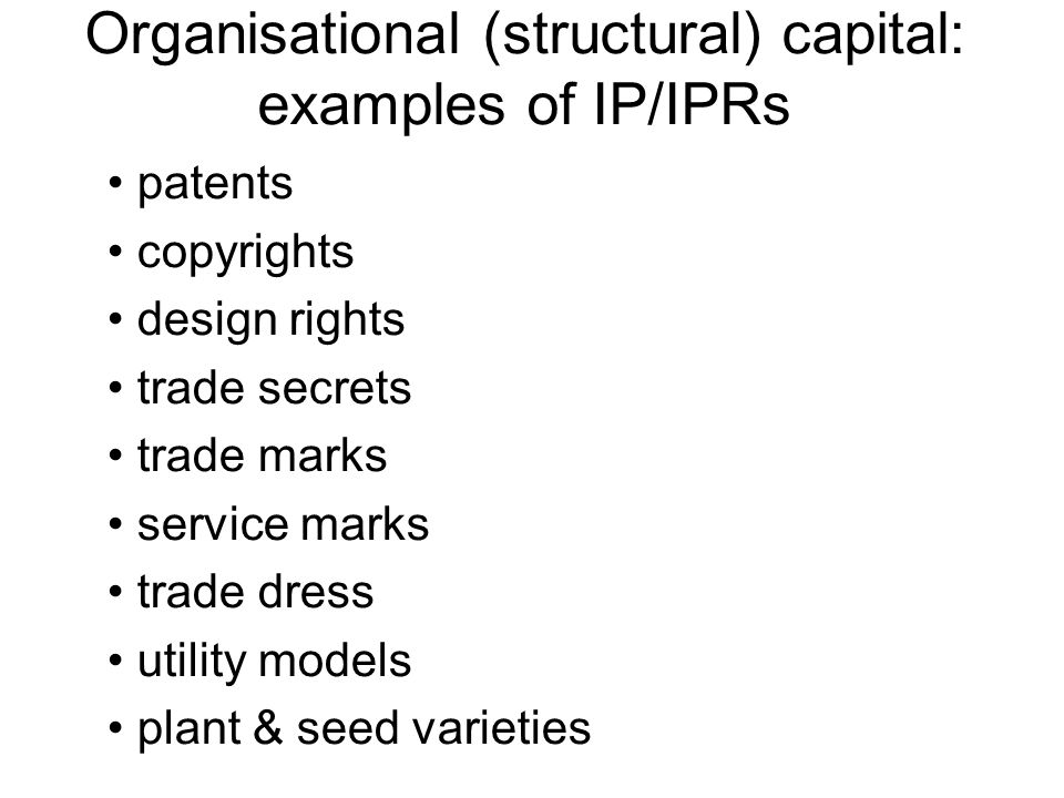 Organisational (structural) capital: examples of IP/IPRs
