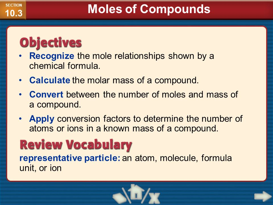 SECTION10.3 Moles of Compounds. Recognize the mole relationships shown by a chemical formula. Calculate the molar mass of a compound.