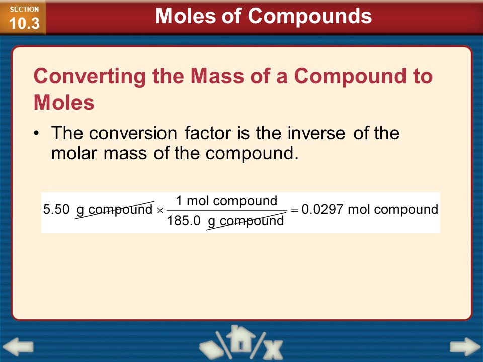 Converting the Mass of a Compound to Moles