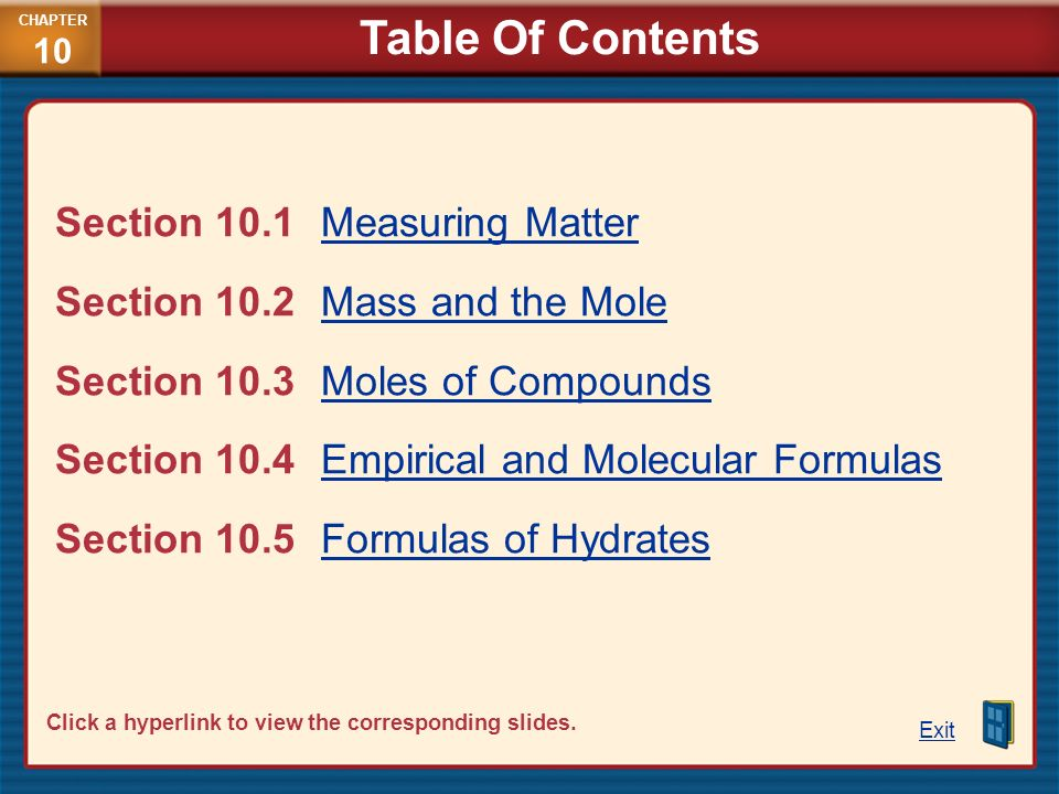 Table Of Contents Section 10.1 Measuring Matter