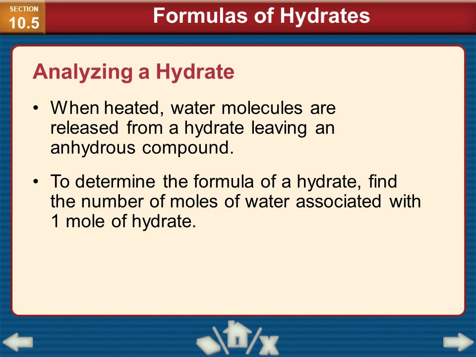 Formulas of Hydrates Analyzing a Hydrate