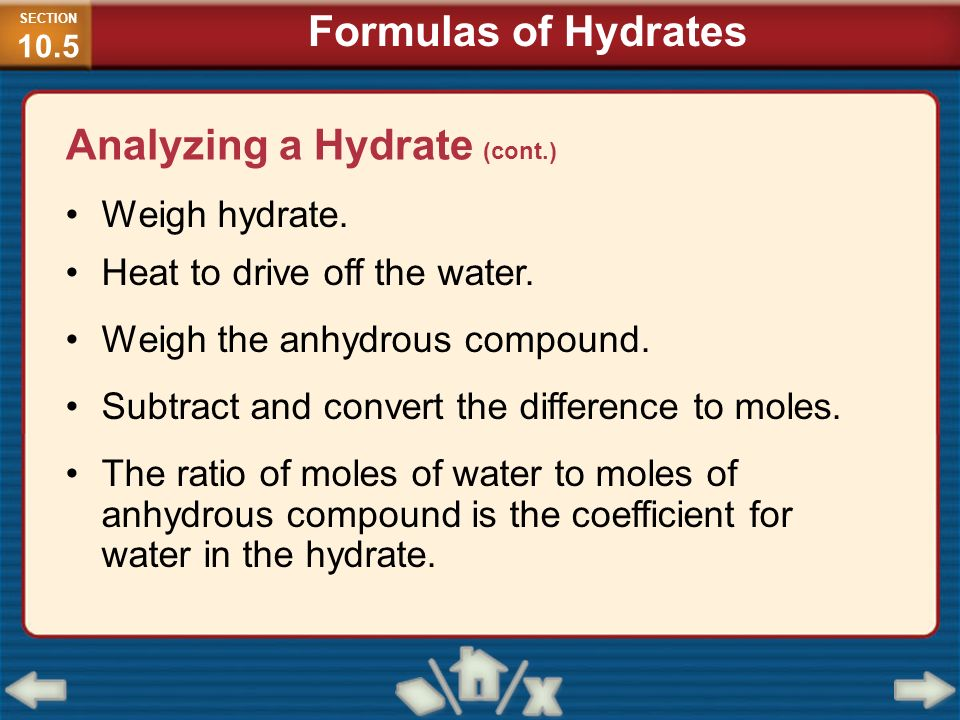 Analyzing a Hydrate (cont.)