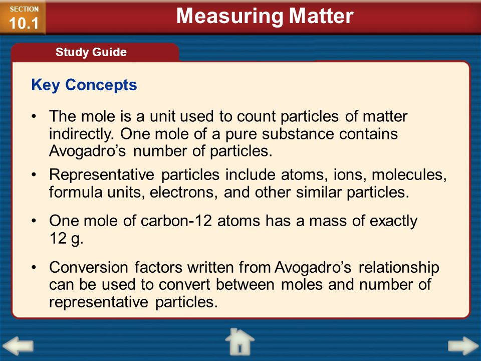 Measuring Matter Key Concepts