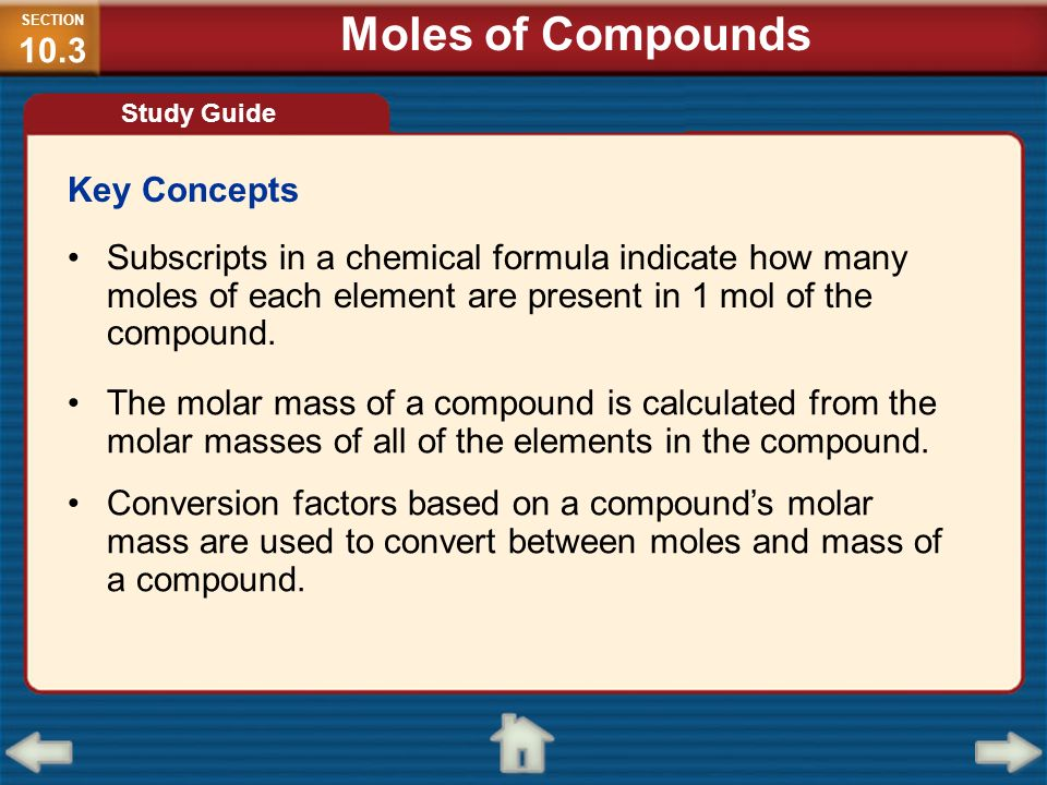 Moles of Compounds Key Concepts