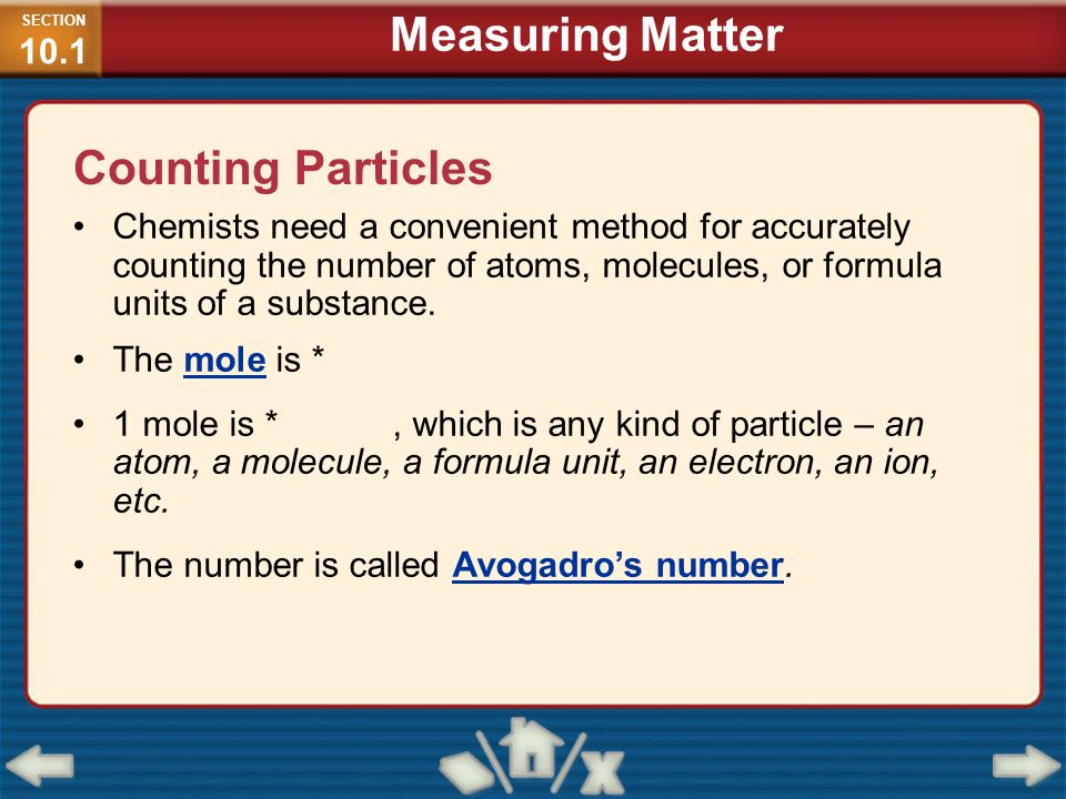 Measuring Matter Counting Particles