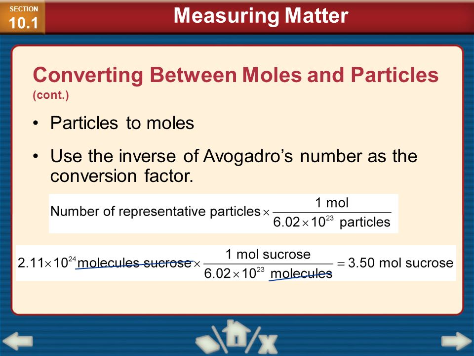Converting Between Moles and Particles (cont.)