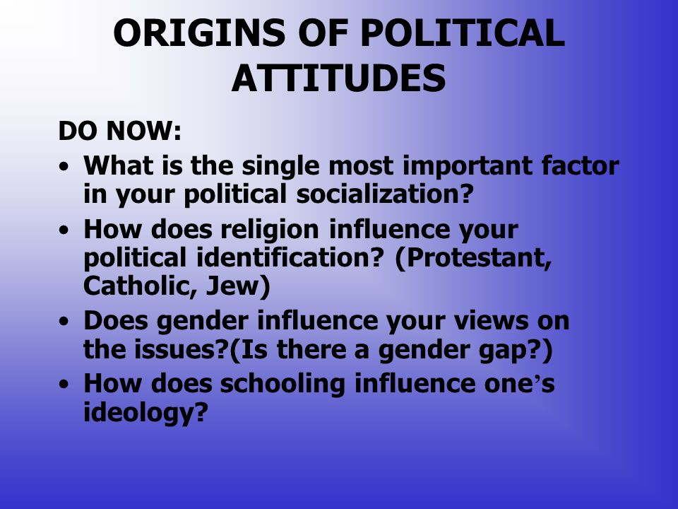 factors that can affect of influence political attitudes Additional confounding factor influencing survey-based measures, being that  surveys are  can influence responses in surveys, such as self-serving biases,  strategic  gender, age and political attitudes have an effect on these  preferences.