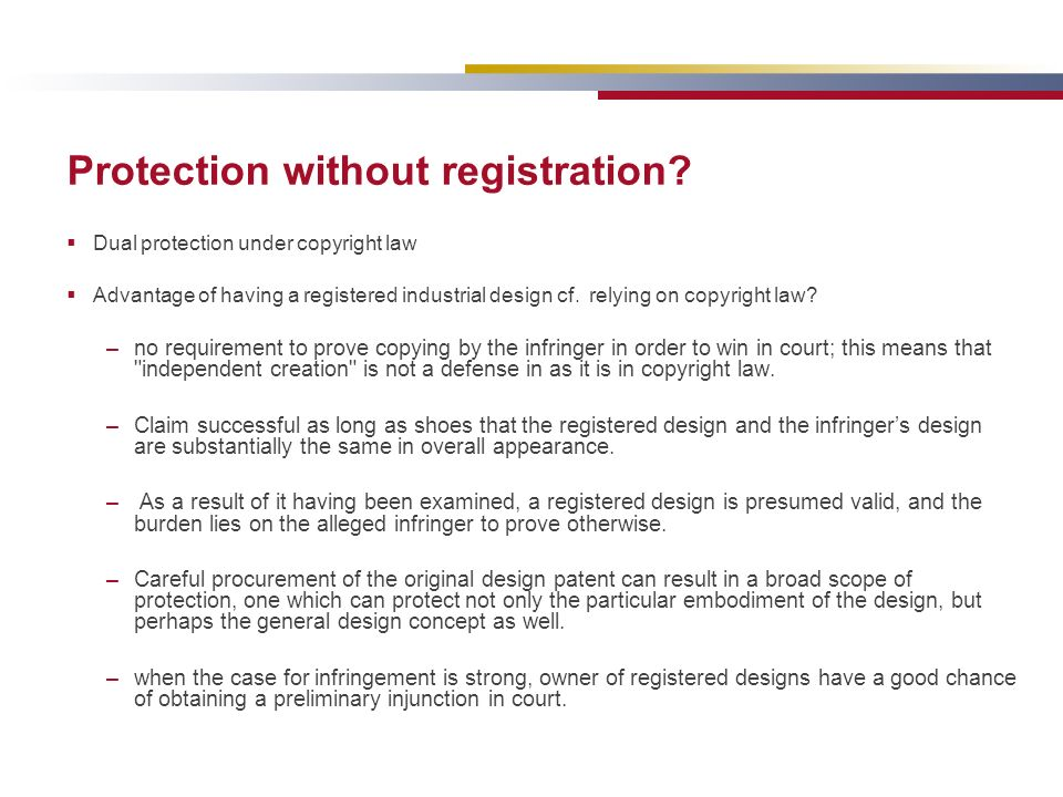Protection without registration