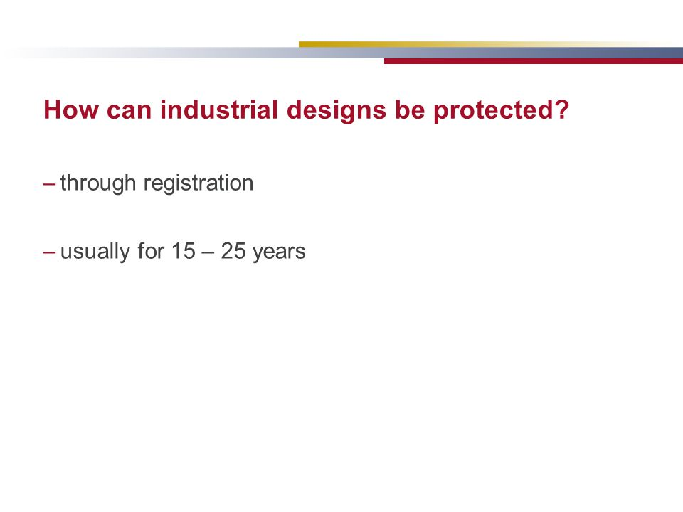 How can industrial designs be protected