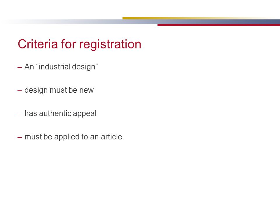 Criteria for registration