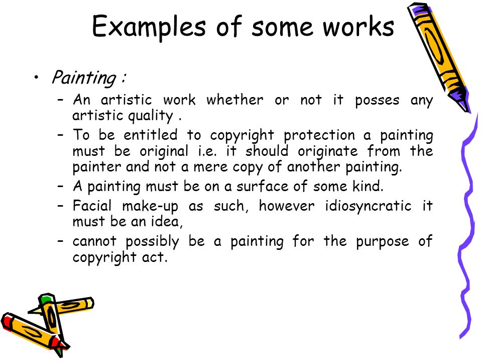 Examples of some works Painting :