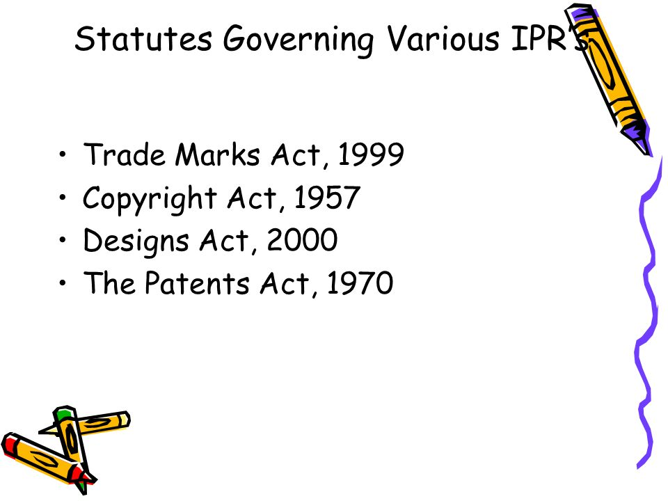 Statutes Governing Various IPR's