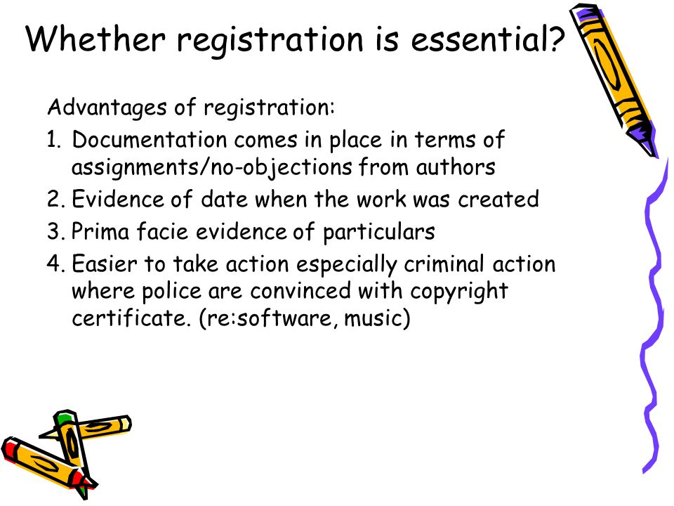 Whether registration is essential