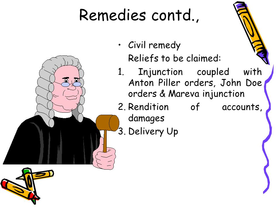 Remedies contd., Civil remedy Reliefs to be claimed: