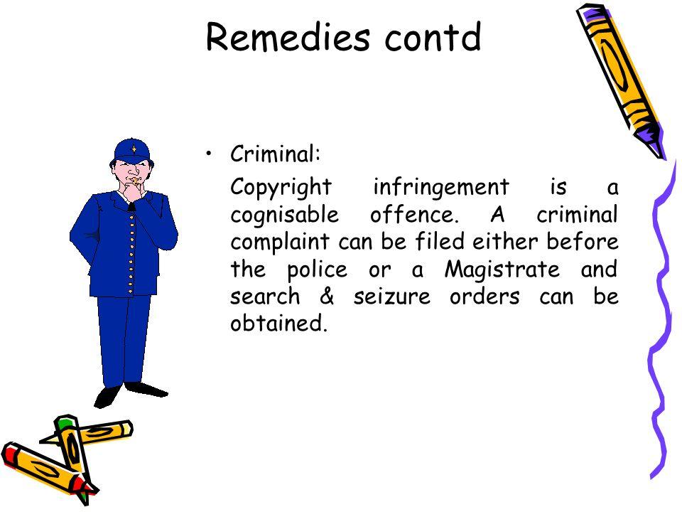 Remedies contd Criminal:
