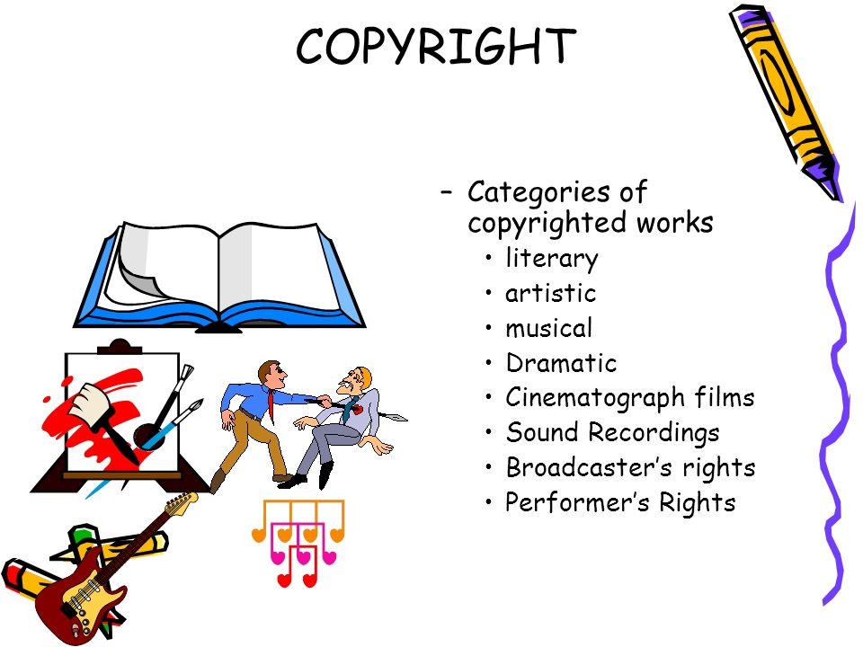 COPYRIGHT Categories of copyrighted works literary artistic musical