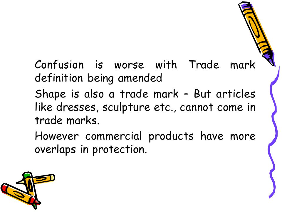 Confusion is worse with Trade mark definition being amended