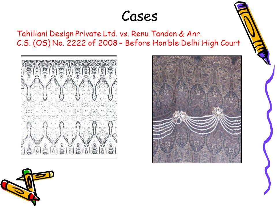 Cases Tahiliani Design Private Ltd. vs. Renu Tandon & Anr.