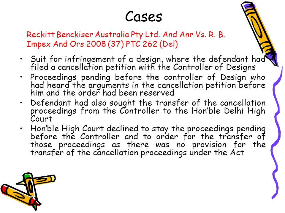 Cases Reckitt Benckiser Australia Pty Ltd. And Anr Vs. R. B. Impex And Ors 2008 (37) PTC 262 (Del)