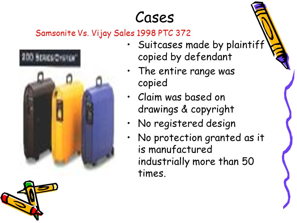 Cases Suitcases made by plaintiff copied by defendant