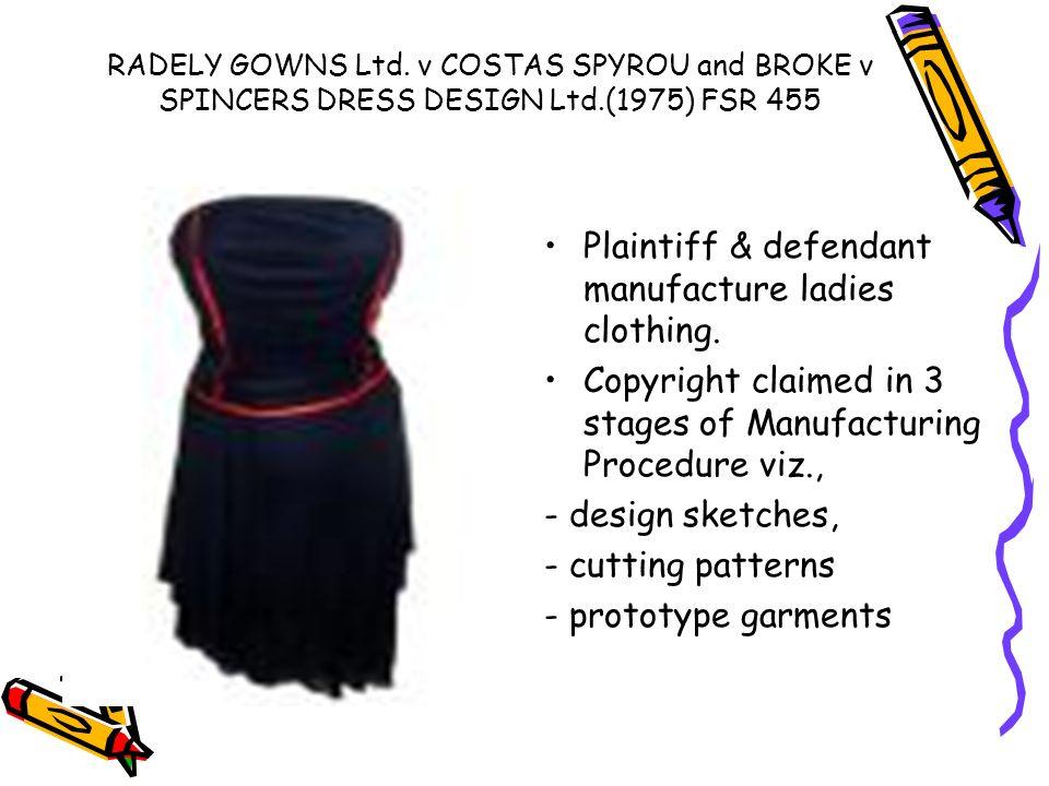 Plaintiff & defendant manufacture ladies clothing.
