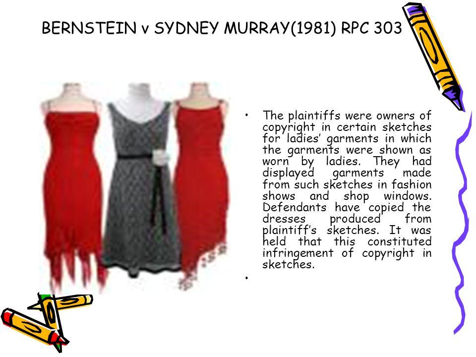 BERNSTEIN v SYDNEY MURRAY(1981) RPC 303