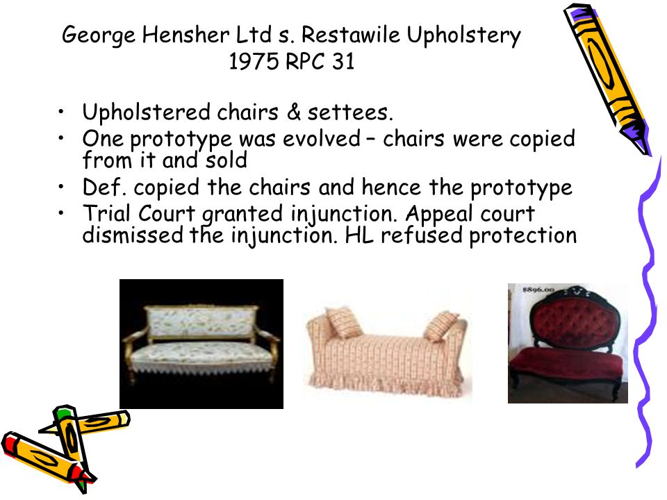 George Hensher Ltd s. Restawile Upholstery 1975 RPC 31