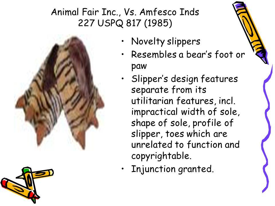 Animal Fair Inc., Vs. Amfesco Inds 227 USPQ 817 (1985)