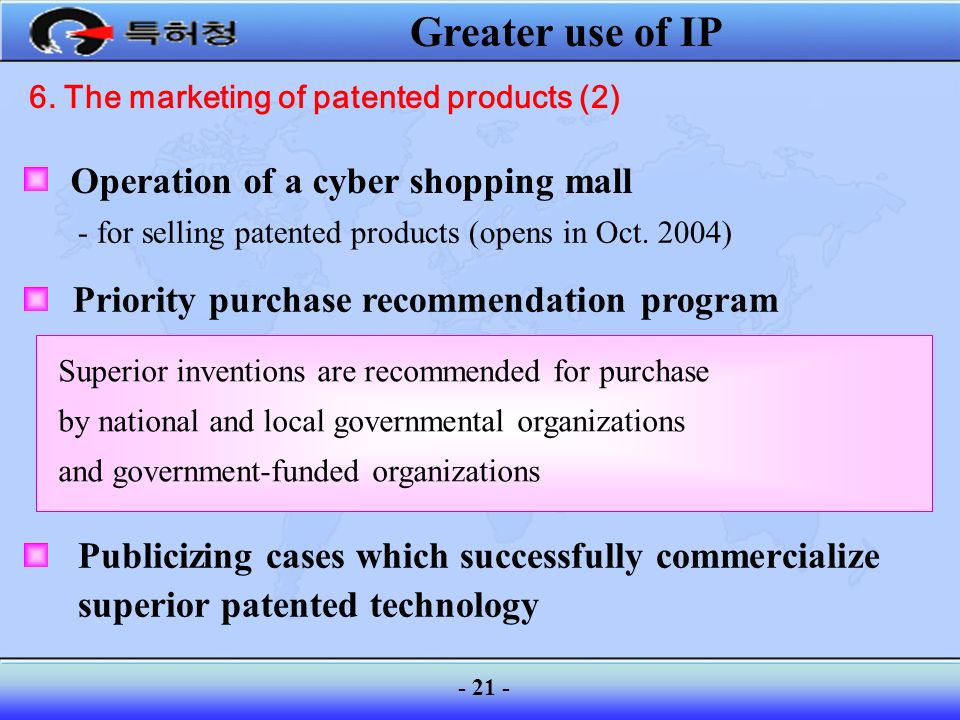 6. The marketing of patented products (2)