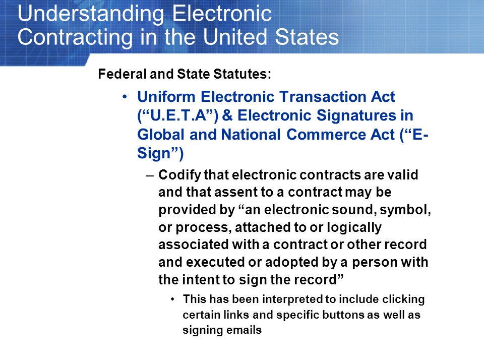 Understanding Electronic Contracting in the United States