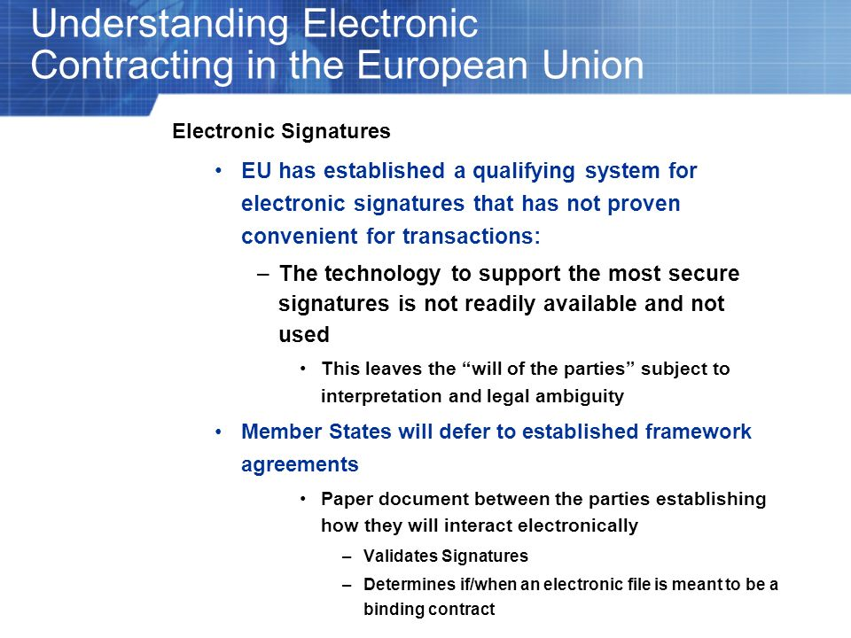 Understanding Electronic Contracting in the European Union