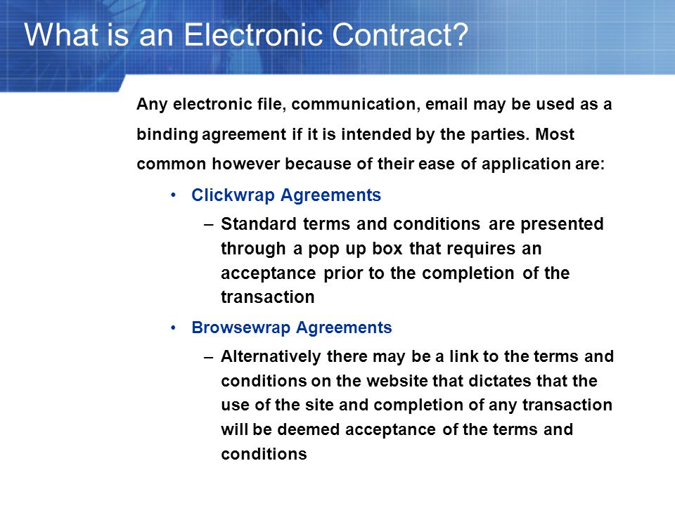 What is an Electronic Contract