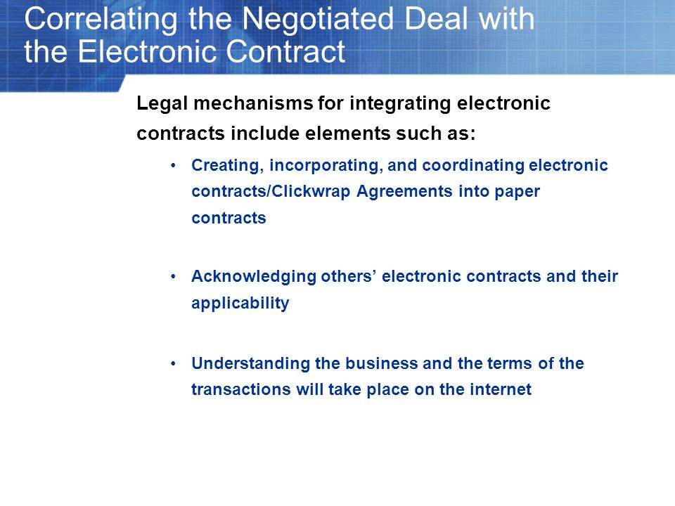 Correlating the Negotiated Deal with the Electronic Contract