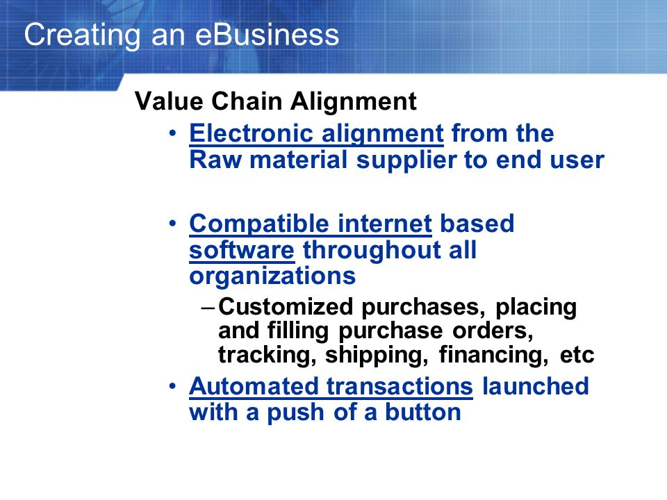 Creating an eBusiness Value Chain Alignment