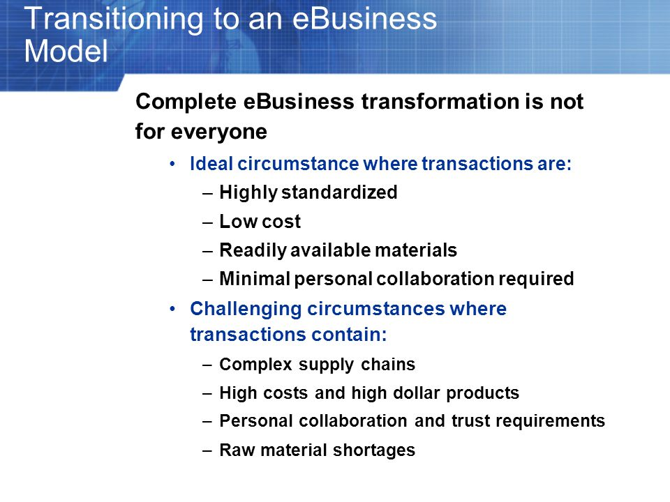 Transitioning to an eBusiness Model