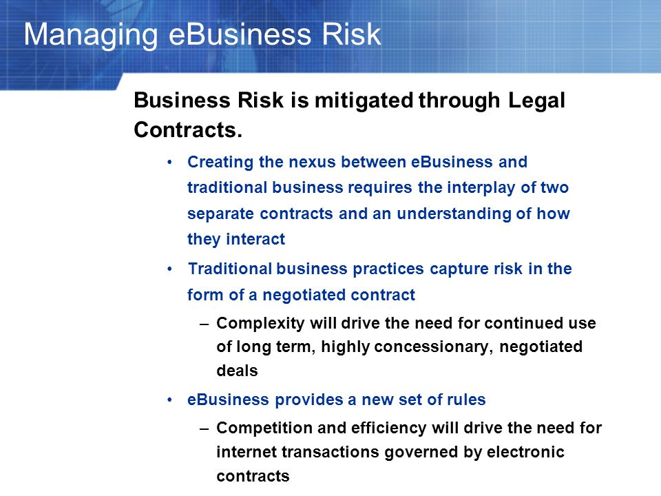 Managing eBusiness Risk