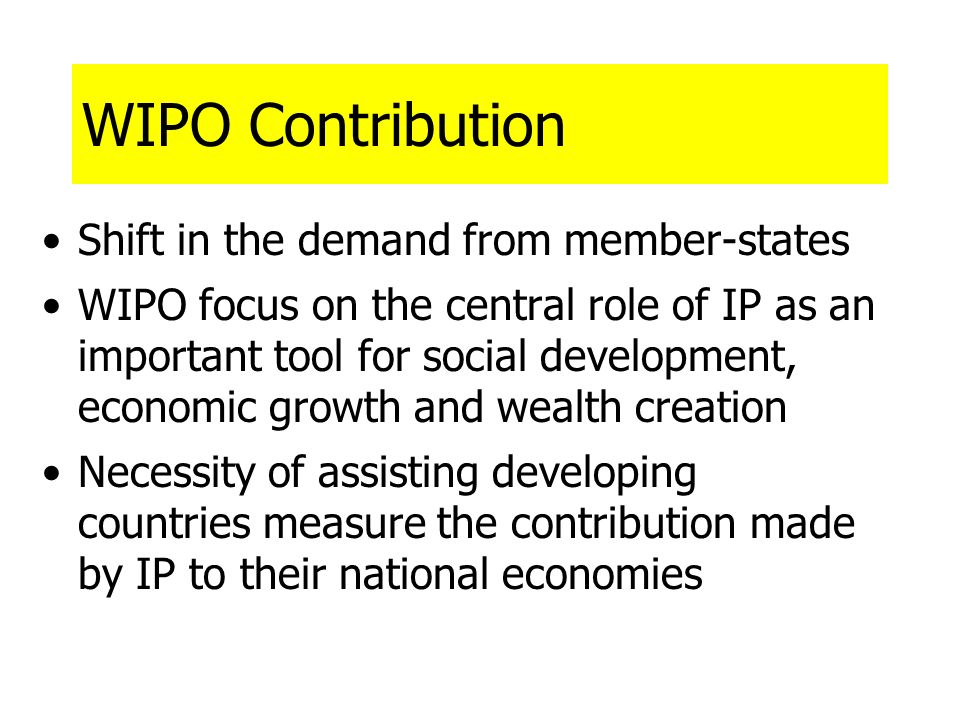 WIPO Contribution Shift in the demand from member-states