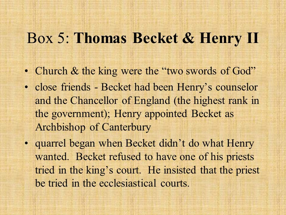the importance of friendship between thomas becket and henry ii Drawing on a wide variety of evidence, including letters, charters, indulgences, poems, miracle stories, relic lists, and a stained-glass panel in canterbury cathedral, this essay examines how the monks of reading abbey reacted to the controversy between king henry ii and thomas becket in the late .