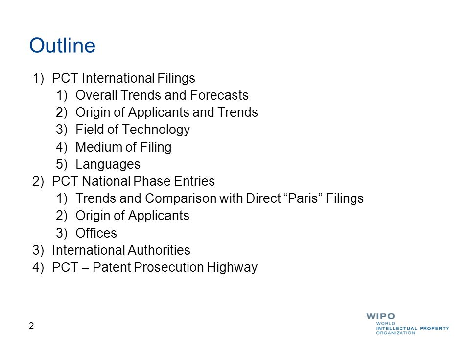 Outline PCT International Filings Overall Trends and Forecasts