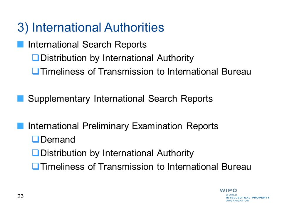 3) International Authorities