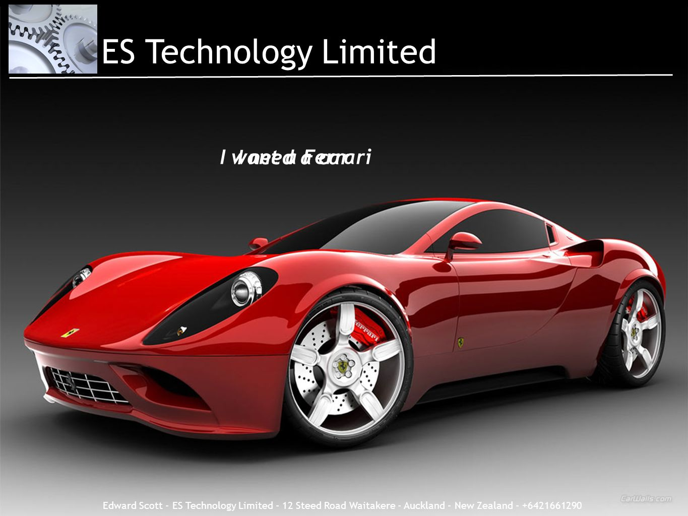 ES Technology Limited I want a Ferrari I need a car Need versus want