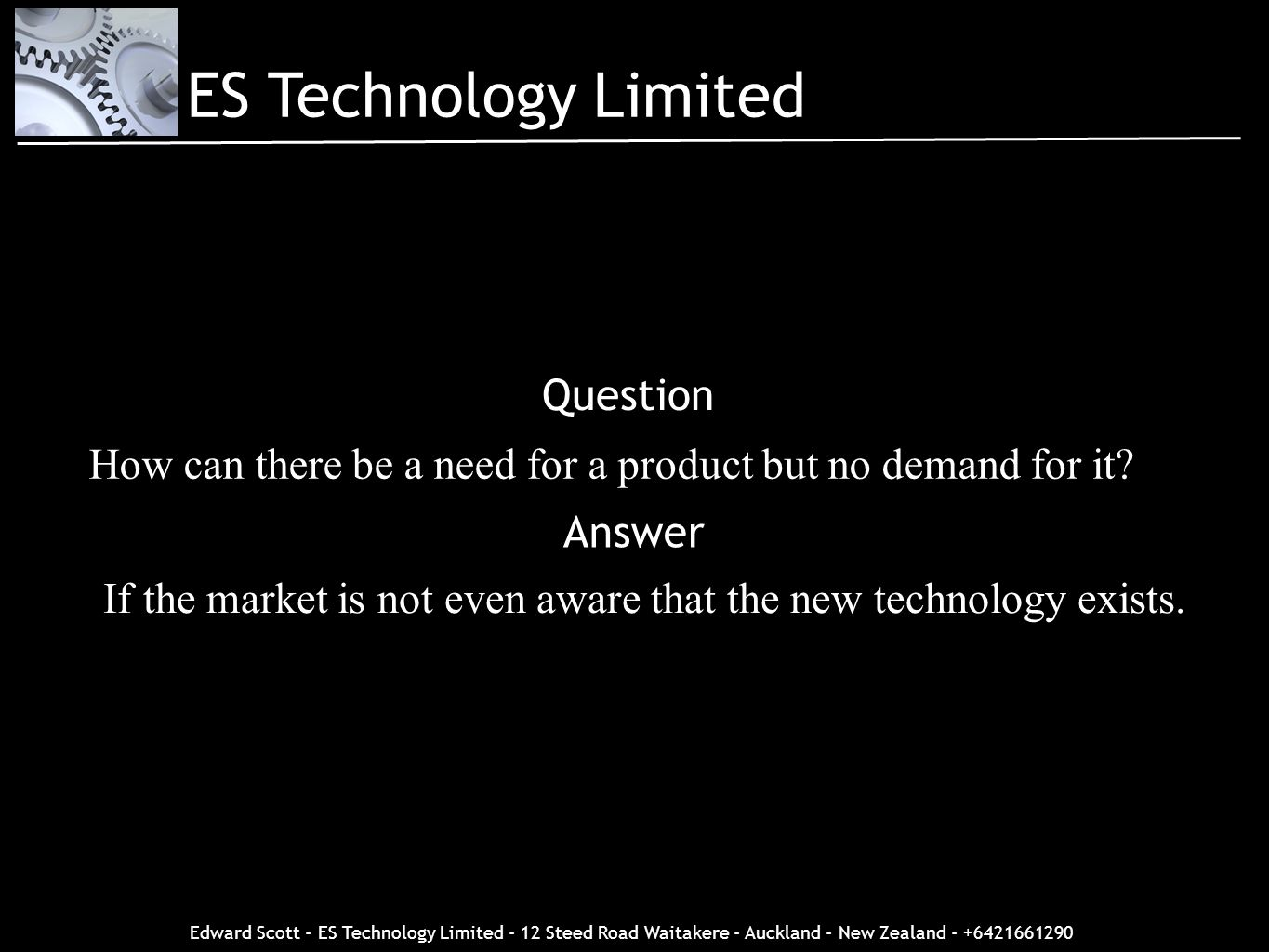 ES Technology Limited Question