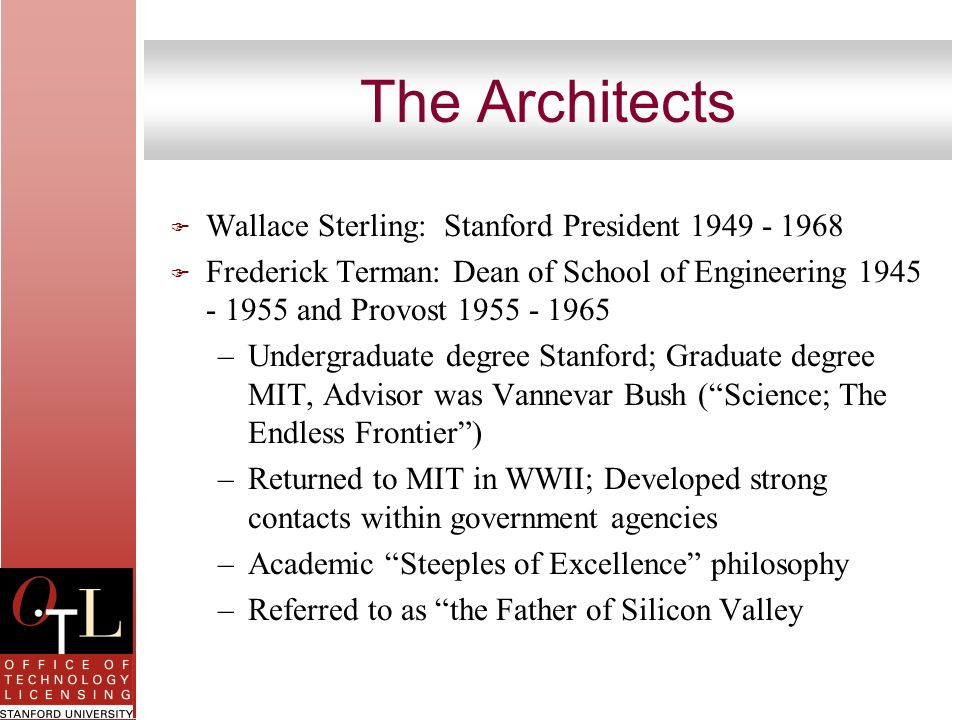 The Architects Wallace Sterling: Stanford President 1949 - 1968