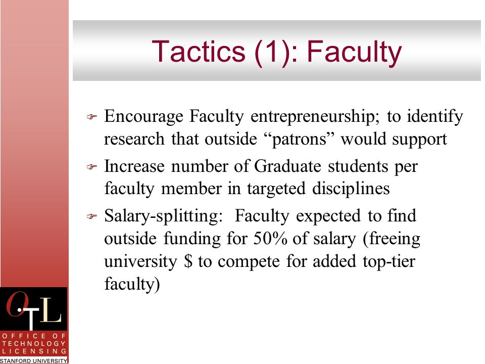 Tactics (1): Faculty Encourage Faculty entrepreneurship; to identify research that outside patrons would support.